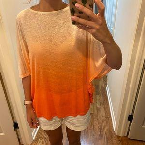 Lauren Ralph Lauren Orange/White Ombré Top